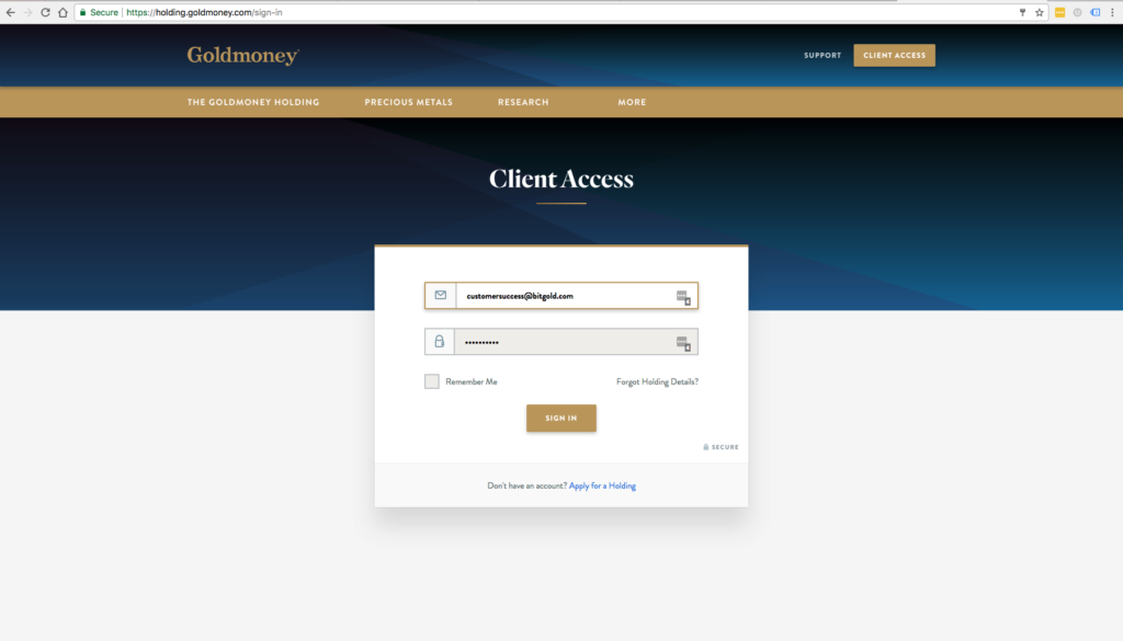 Log into your Goldmoney Network account with your email address
